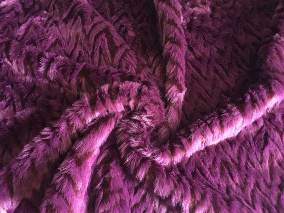 Burgundy and Purple Faux Fur with Geometric Pattern made in