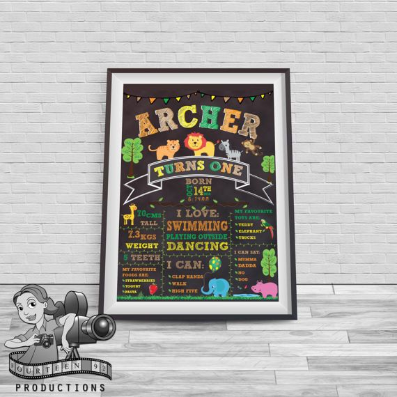 Jungle Safari Animal Chalkboard Milestone Poster