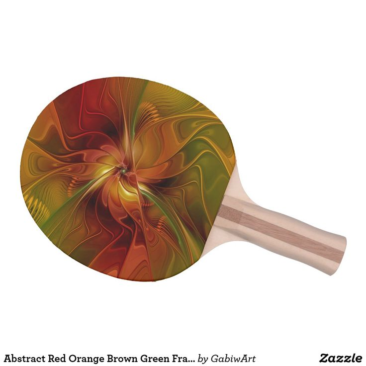 Abstract Red Orange Brown Green Fractal Art Flower Ping-Pong Paddle