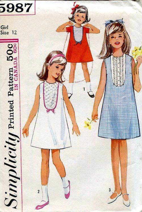 Sewing Patterns #Vintage Simplicity 5987 Retro 1960's Girls dress with cute yolk inserts