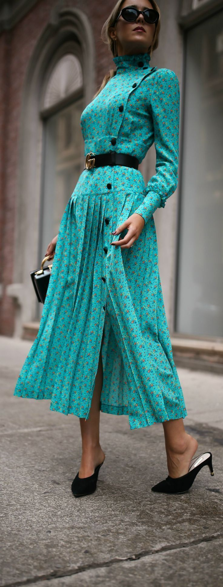 Fall Florals + Slide Pumps // Turquoise floral victorian pleated maxi dress, black slide pumps, small black box bag, leather belt, black sunglasses {Alessandra Rich, Mark Cross, Gucci, New York Fashion Week, NYFW}