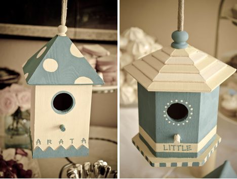 I would really like to do small bird houses for favors... is that going to far? hehehe