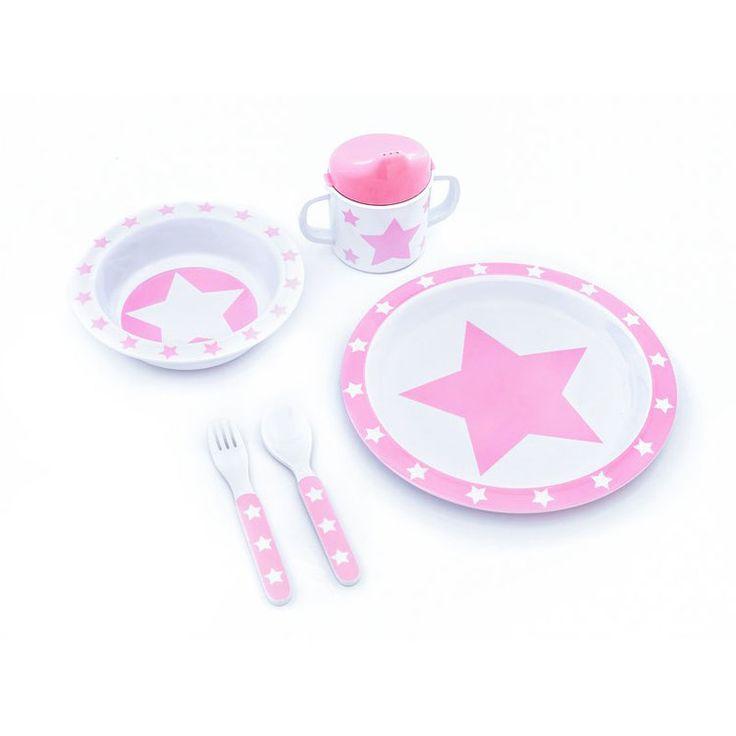 Pimpalou Melamin Kindergeschirr-Set Sterne rosa/weiß 5-teilig