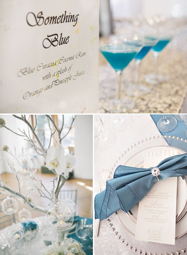 """""""Something blue"""" themed bridal shower - love the blue drinks in martini glasses and the engagement ring napkin holders"""