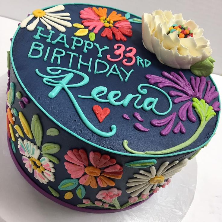 Girly floral cake design (25th birthday cake)
