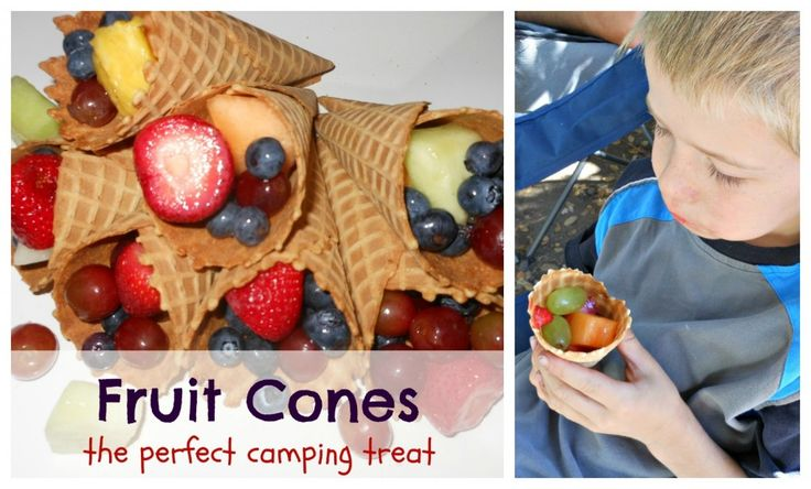 Fruit Cones: Healthy Camping Snack for Kids and Adults--clean & cut fruit ahead of time & scoop into cones at campsite