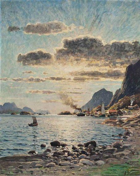 Eilert Adelsteen Normann - A steam boat on...
