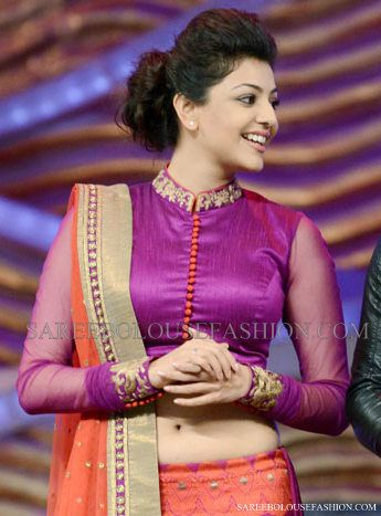 Kajal Agarwal Beautiful full sleeved purple sequin collar blouse