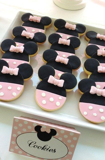 Pretty cookies at a Minnie Mouse Birthday Party! See more party ideas at CatchMyParty.com!