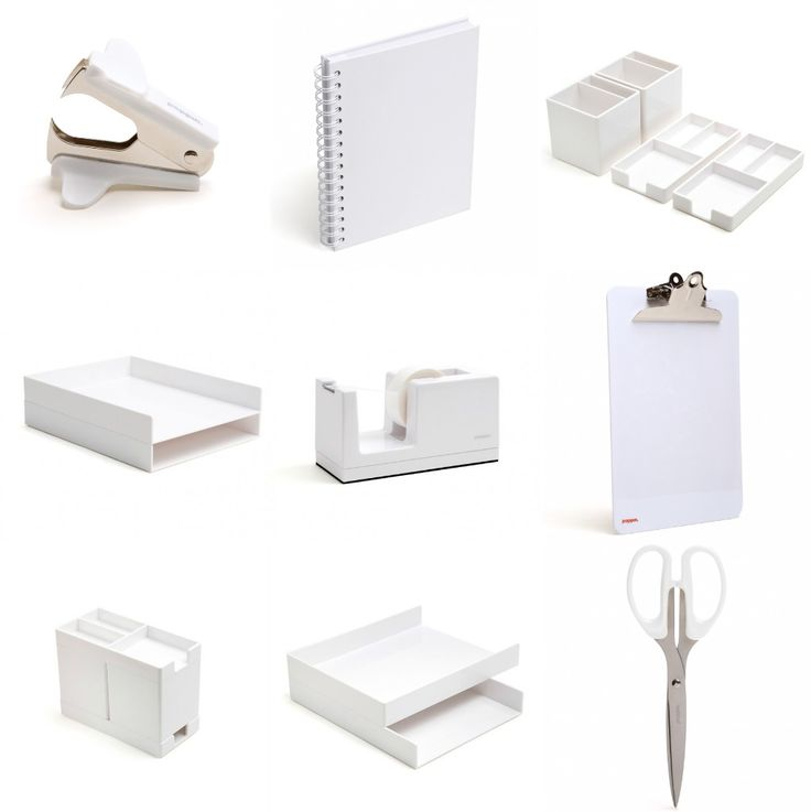 White office supplies to minimize the impact of clutter.