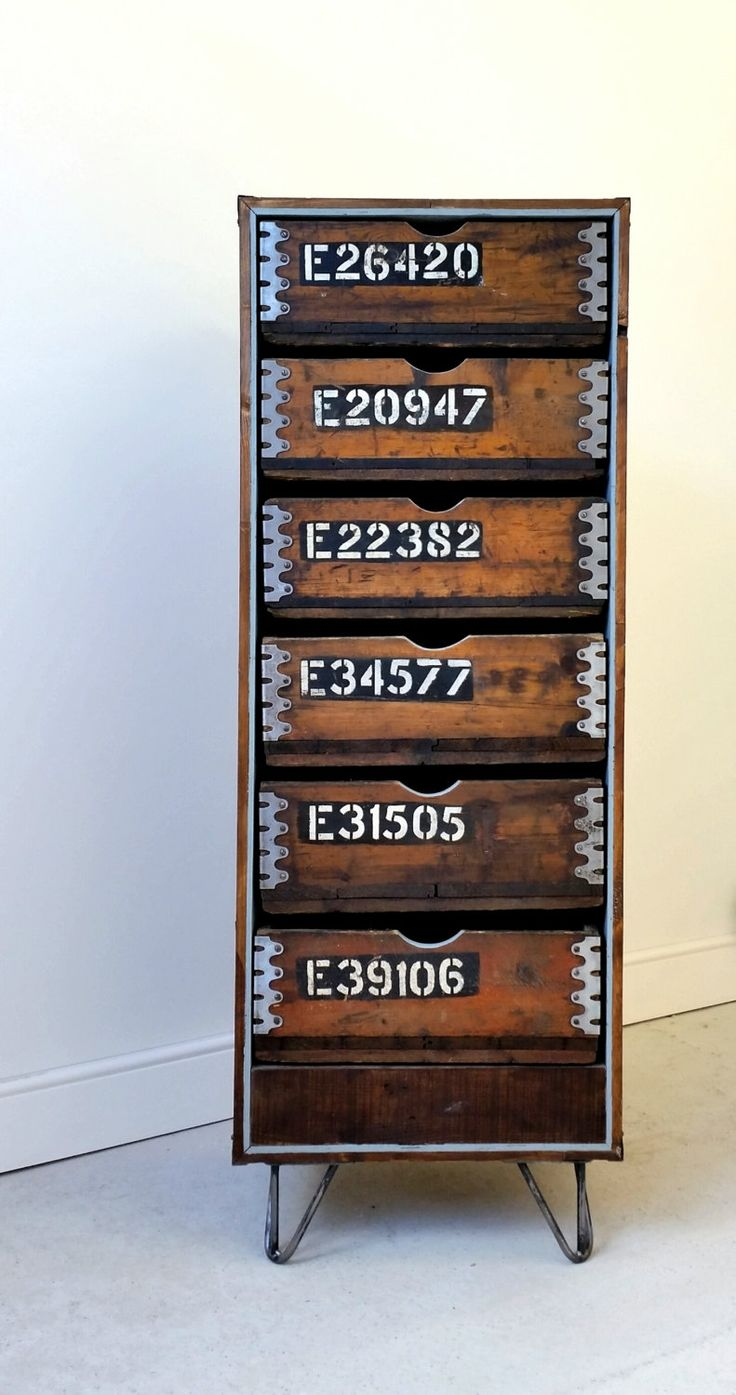 Limited edition Vintage Industrial chest of drawers great storage using up cycled 1930's Ammo boxes, reclaimed pallets and hairpin legs by TheRetroStationUK on Etsy https://www.etsy.com/listing/189623739/limited-edition-vintage-industrial-chest