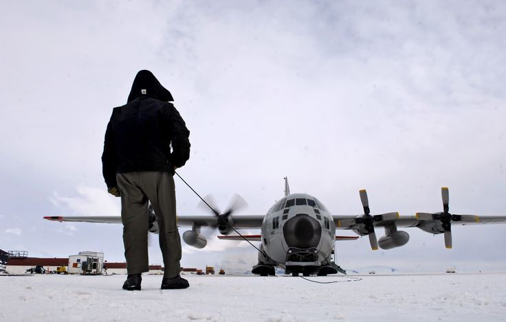 Chief Master Sgt.Bill Nolin conducts pre-flight checks on LC-130 Hercules,Nov.26,2007,at annual sea ice runway near McMurdo Station,Antarctica during Operation DEEP FREEZE.Airlift for Op involves active duty & Reserve C-17 Globemaster III support from Joint Base Lewis-McChord,Wa.,LC-130 Hercules support of New York Air National Guard,sealift support from US Coast Guard & Military Sealift Command,engineering & aviation services from USN Space & Naval Warfare Systems Com,& cargo handling from…