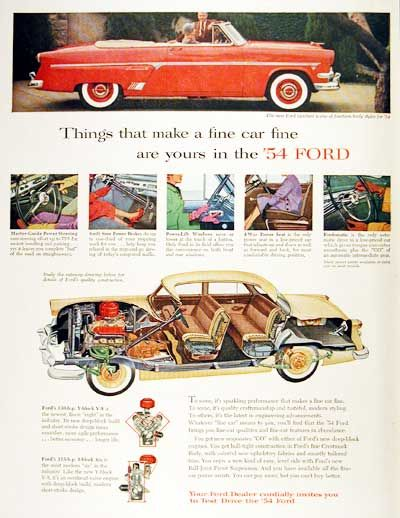 1954 Ford Sunliner Crestline Convertible vintage ad. Available with the 130 h.p. V8 or the 115 h.p. inline Six. Also features cutaway view of the Sedan model.