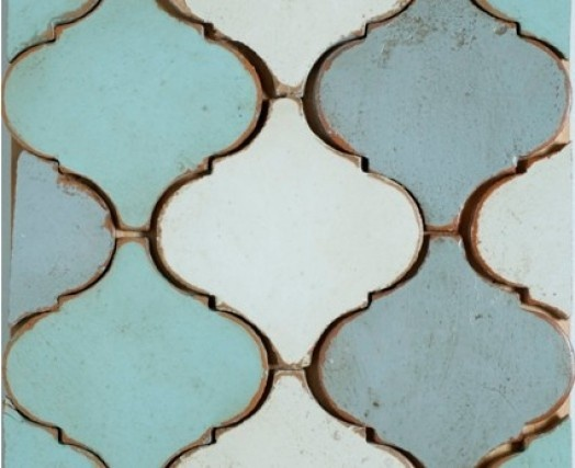 "Tabarka - Small Arabesque, 6'x6"" Any Color. Hand made, hand painted terra cotta tile."