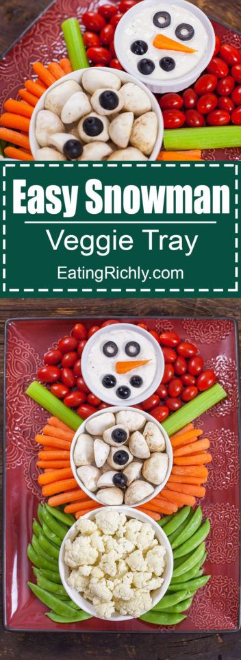 This Christmas Veggie Tray Snowman is easy enough for kids to make, and too cute to resist. It's the perfect simple appetizer for holiday parties! From EatingRichly.com