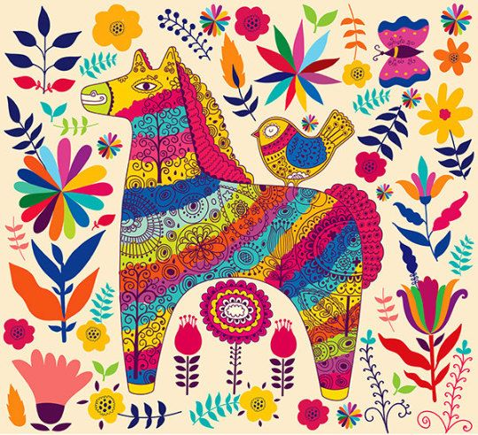 Coloured decorative horse and flower pattern . by MoleskoStudio