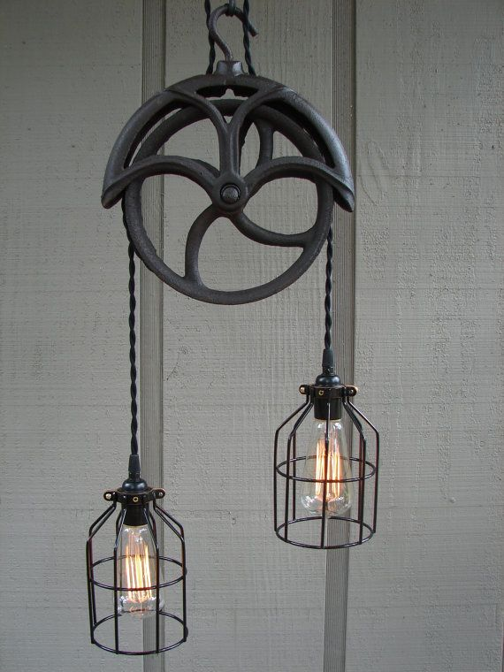 RESERVED for Lisa / Upcycled Vintage Well Pulley Pendant Light with Bulb Cages & 97 best Vintage Industrial Lighting images on Pinterest | Lighting ... azcodes.com