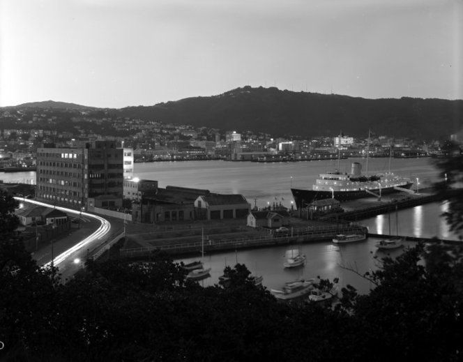 Wellington Harbour area with the Overseas Passenger Terminal, the royal yacht Britannia, and Herd Street 1960