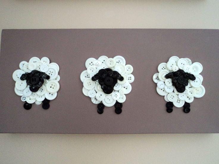 Button Sheep Nursery Decor by HomespunArtistries on Etsy