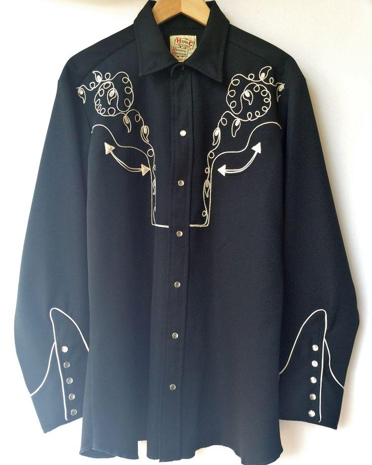 Vintage H Bar C Black Cowboy / Western / Rockabilly Shirt - White & Silver Embroidery - Pearl Snaps - L / XL - 16.5 by ModLoungeVintage on Etsy https://www.etsy.com/listing/221389935/vintage-h-bar-c-black-cowboy-western