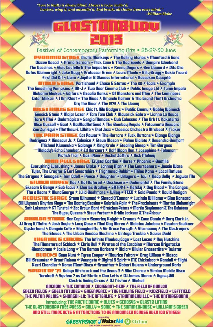 Glastonbury Festival - 2013 line-up