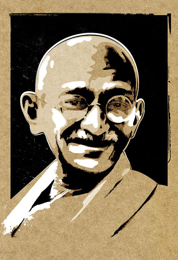Gandhi, Pop Art style, artist signed, portrait, illustration, Poster size art print available in ...