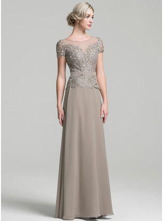 A-Linie/Princess-Linie U-Ausschnitt Bodenlang Chiffon Kleid für die Brautmutter