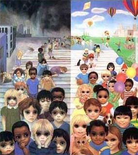 "margaret keane ""love makes a world of difference"". There is amazing difference in her drawings after she became JW!"