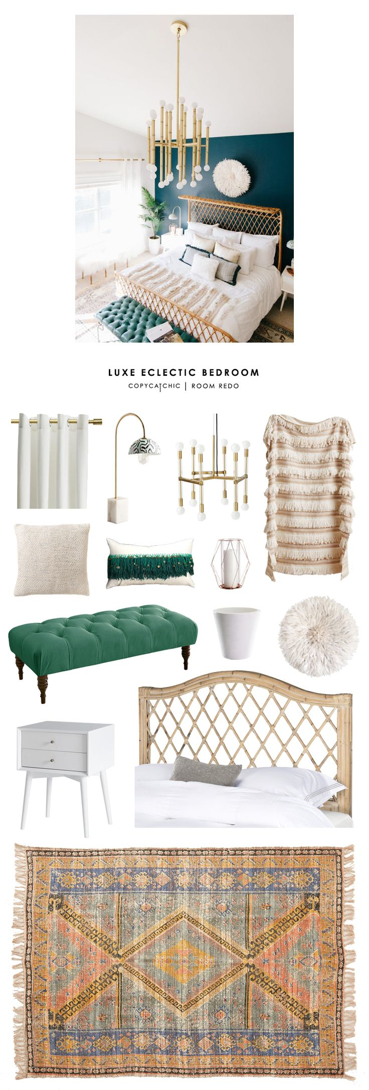 Copy Cat Chic Room Redo | Luxe Eclectic Bedroom                                                                                                                                                                                 More