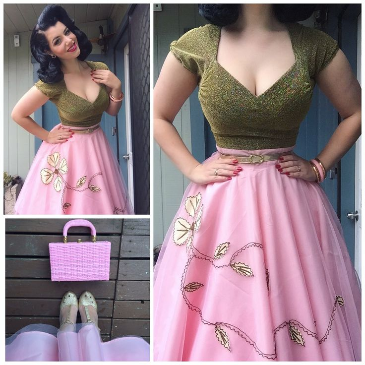 Miss Victory Violet in pink circle skirt