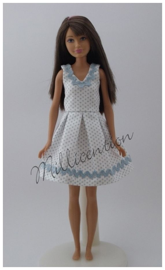 Blue-white polka dot Skipper doll dress