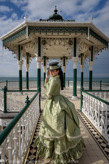 1870s Victorian summer dress polonaise in silk- seaside Brighton first bustle style for Victorian Dressmaker, by Prior Attire