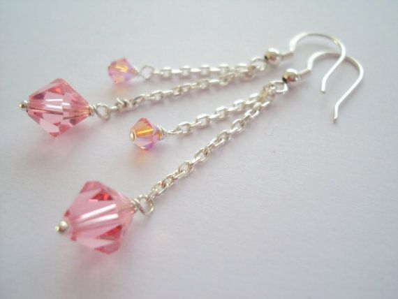Swarovski Pink crystal long dangle earrings in sterling silver (925)