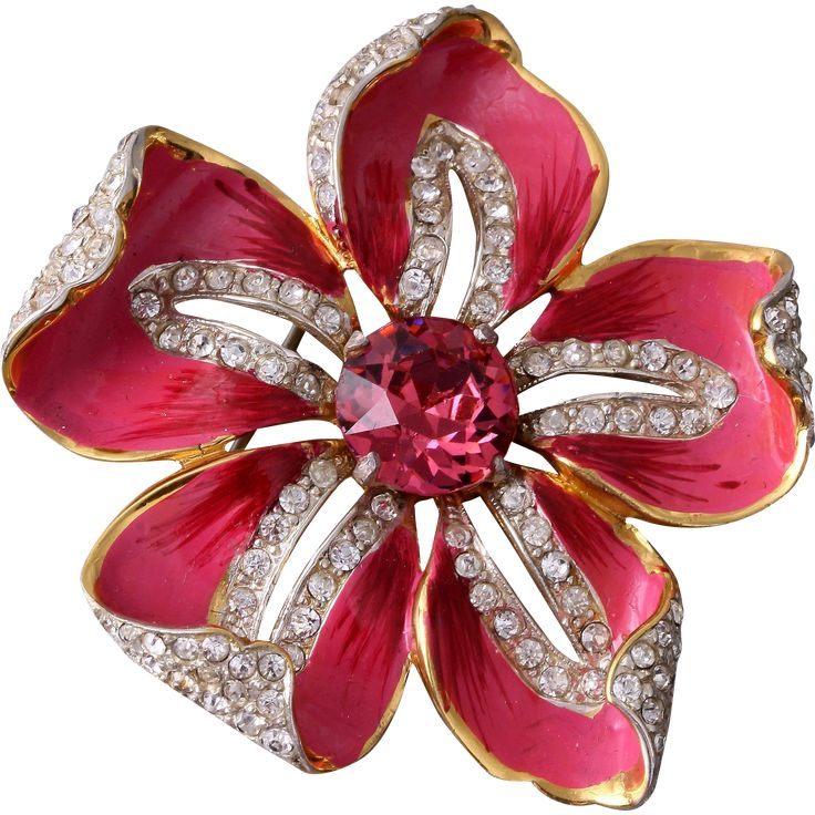 RARE Corocraft Sterling Pave Pink Enamel and Ruby Red Rhinestone Flower Pin