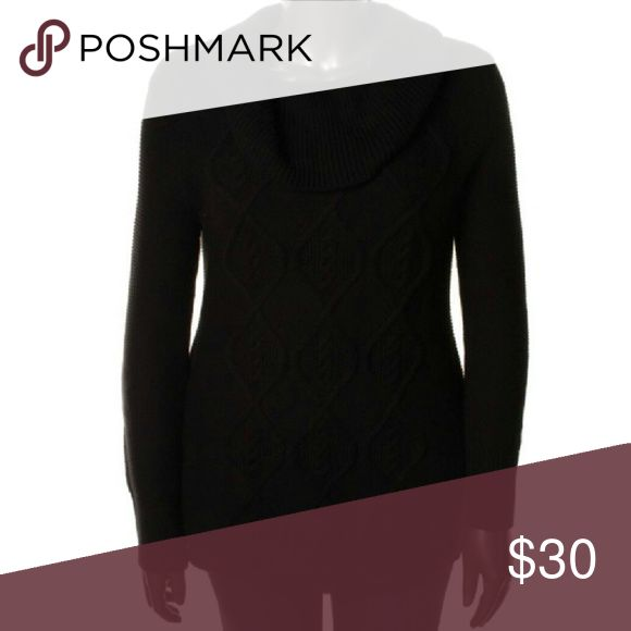 HEATHER B Black Rib Trim Tunic Sweater NWT $98 S CHRISTMAS SALE - PRICE IS FIRM  Pretty black textured ribbed trim tunic cowl sweater from Nordstrom's Heather B collection. NWT $98 S Heather B Tops
