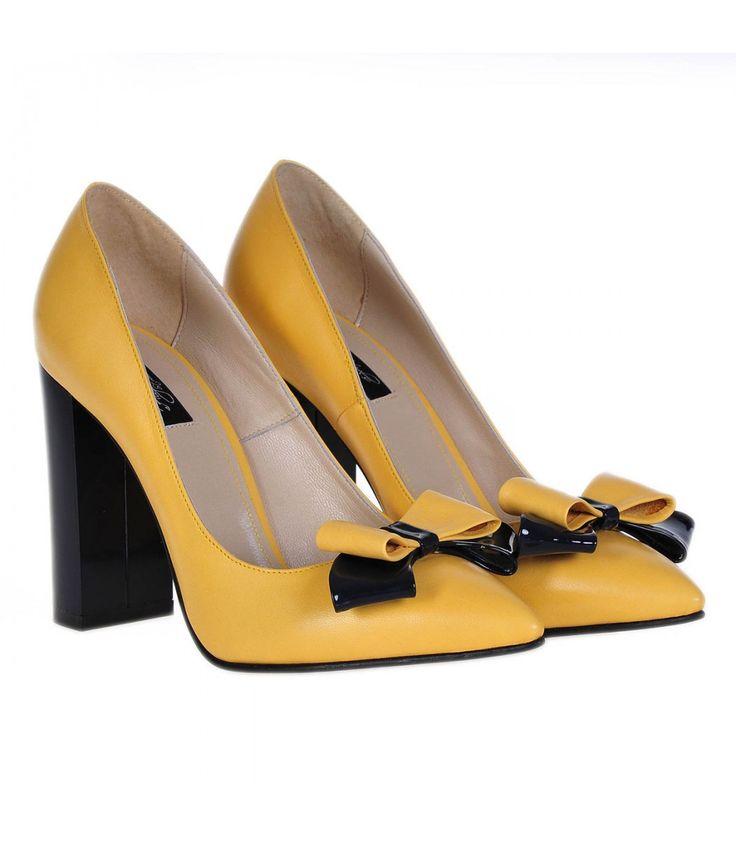 Pantofi Stiletto Cu Toc Gros Piele Naturala Galbena- Cod S236