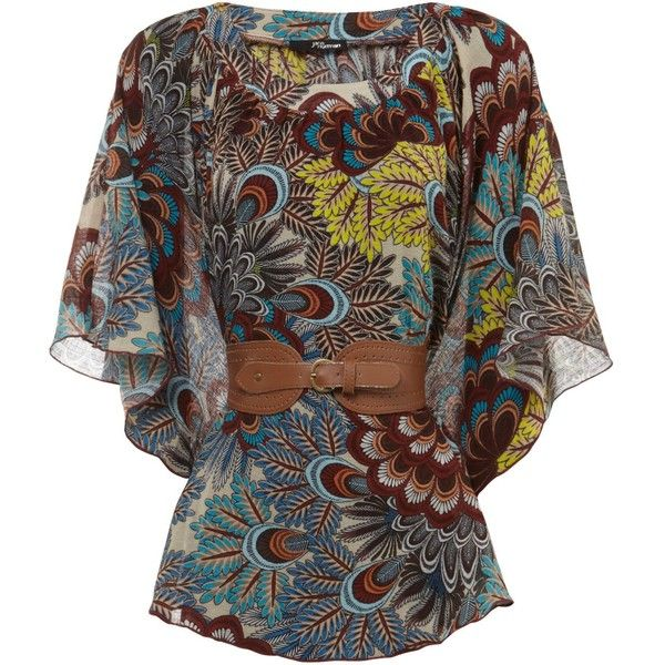 Jane Norman Peacock paisley belted kimono (£18) ❤ liked on Polyvore featuring tops, blouses, shirts, women, shirt blouse, cotton kimono, paisley pattern shirt, pattern blouses and brown blouse