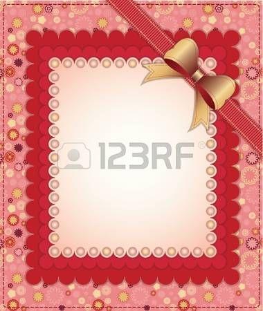 principessa vintage: Cornice rosa con fiocco e perline su sfondo floreale