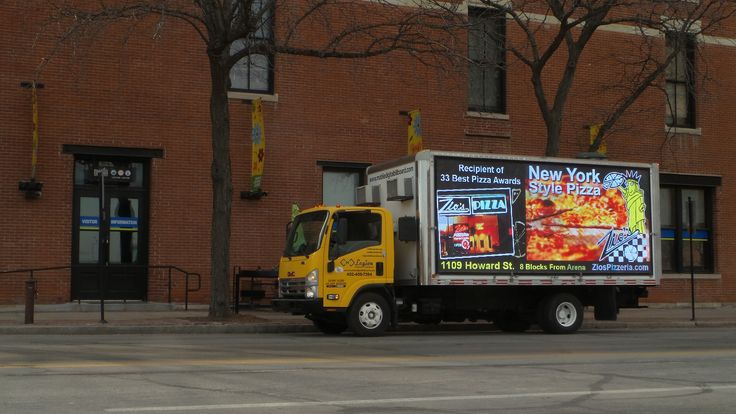 Zio's Pizzeria Ads on the mobile billboard in downtown Omaha, Nebraska