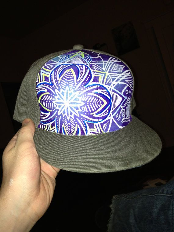 Handpainted Snapback Flat Bill Hat by GulleyArt on Etsy, $50.00