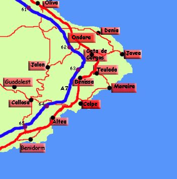 Map of Places to visit from Calpe, Costa Blanca, Spain