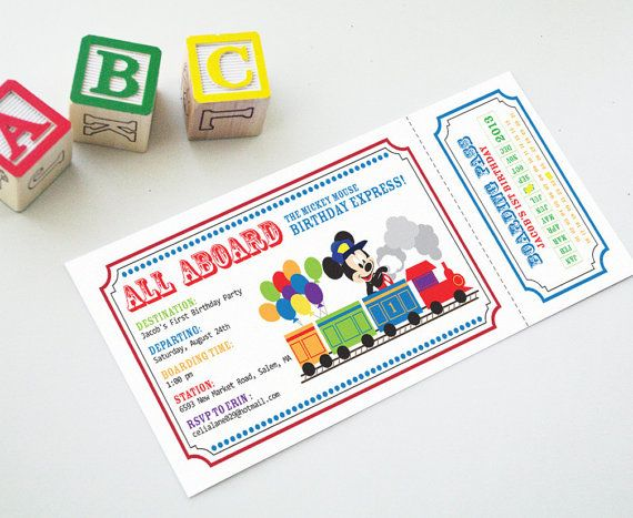 "Printable Invitation Custom Personalized Train Ticket for Conductor Mickey Mouse Birthday Party ""All Aboard"""