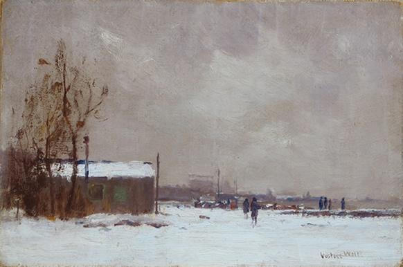 Gustave Wolff - Dyckman Street Docks, Manhattan. Oil on board, 8 x 12.