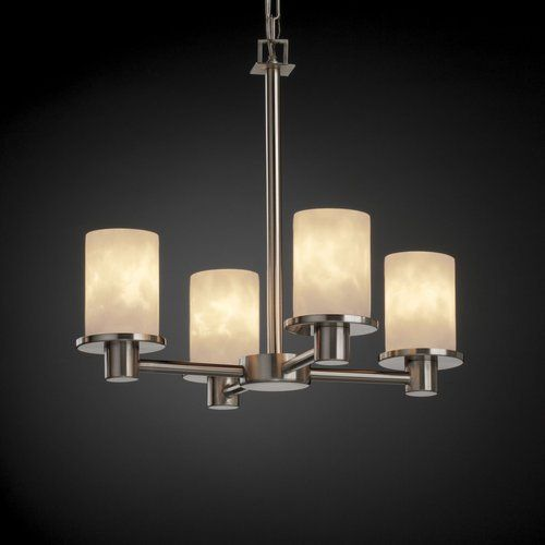 Justice Design Group Cld 8510 Rondo 4 Light Chandelier From The Clouds Collectio Brushed