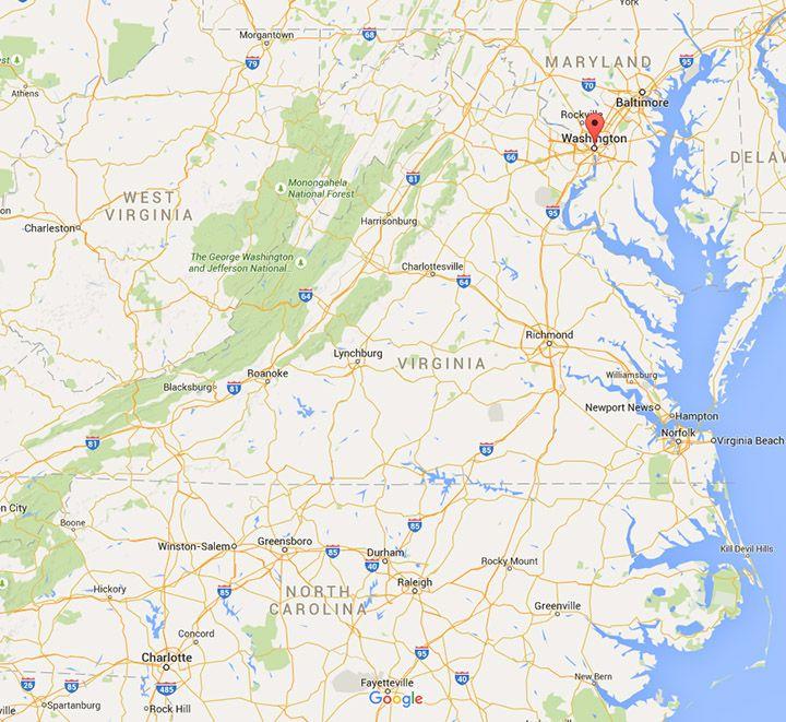 Map Washington Dc Virginia North Carolina Distance