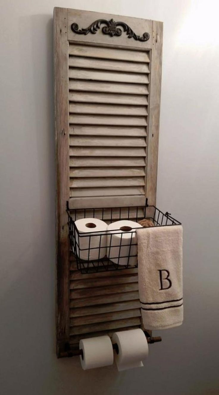 Whitewashed Shutter Storage Basket and Toilet Paper Dispenser