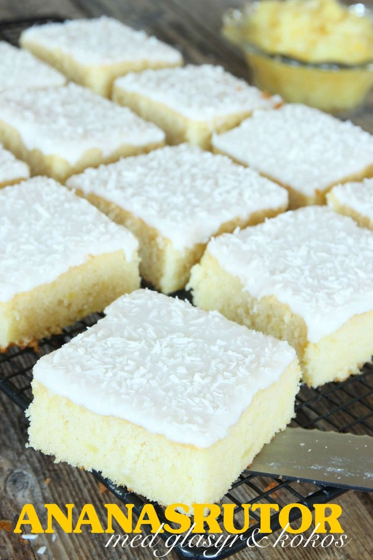 dagensrecept -- Ananasrutor med glasyr & kokos || Day Recipe (today's recipe?) -- Pineapple Squares with frosting & coconut | Svenska