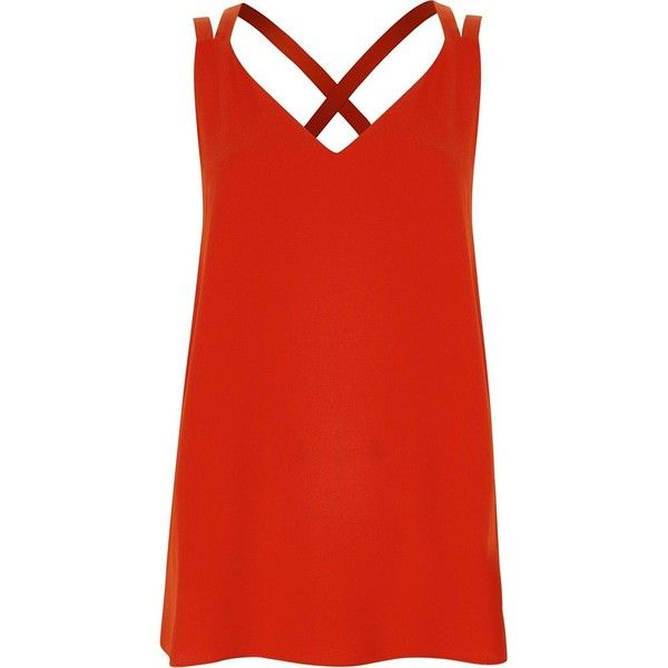 River Island Red double strap cross back tank ($36) ❤ liked on Polyvore featuring tops, cami / sleeveless tops, red, women, red tank top, cami tank top, red camisole, v neck cami and loose tank top