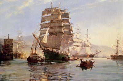 Tea: Tea clipper ships moored in a Chinese port. Learn more about the tea clipper races here: http://joshuarigsby.com/2013/11/03/the-famous-tea-clipper-races/