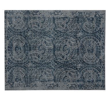 Not sure where?? Dining room?? Love the print & color of this rug! Bosworth Printed Rug #potterybarn.